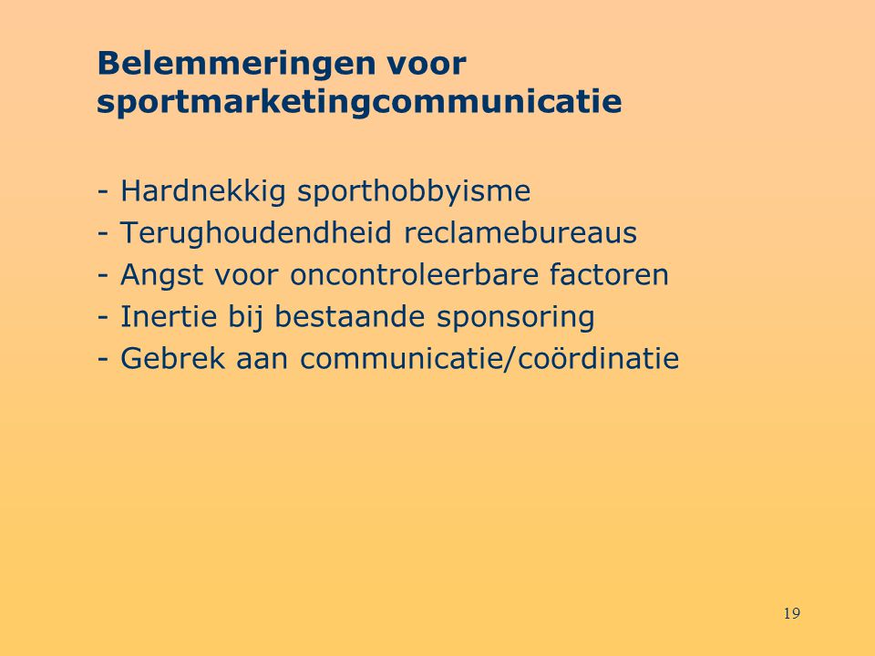Belemmeringen voor sportmarketingcommunicatie