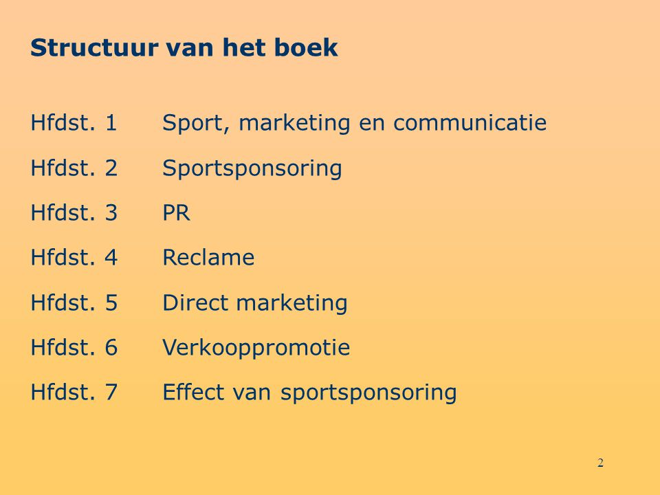 Structuur van het boek Hfdst. 1 Sport, marketing en communicatie