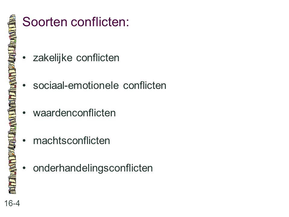 Soorten conflicten: • zakelijke conflicten