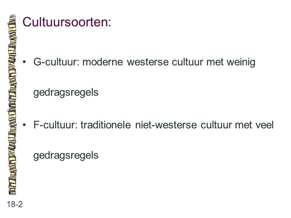 Cultuursoorten: • G-cultuur: moderne westerse cultuur met weinig gedragsregels.