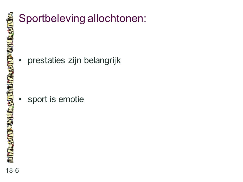 Sportbeleving allochtonen: