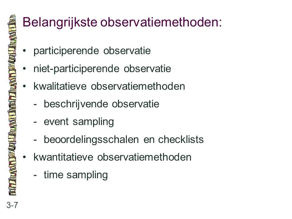 Belangrijkste observatiemethoden: