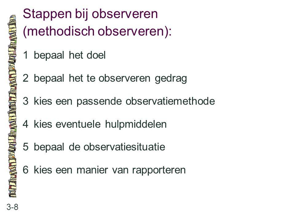 Stappen bij observeren (methodisch observeren):