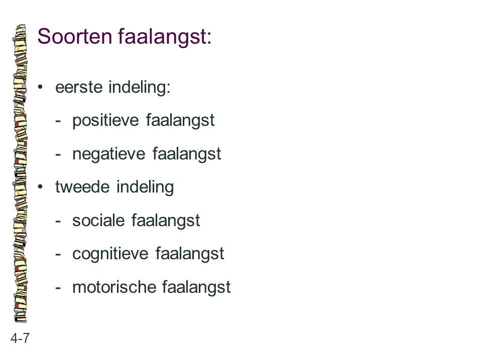 Soorten faalangst: • eerste indeling: - positieve faalangst