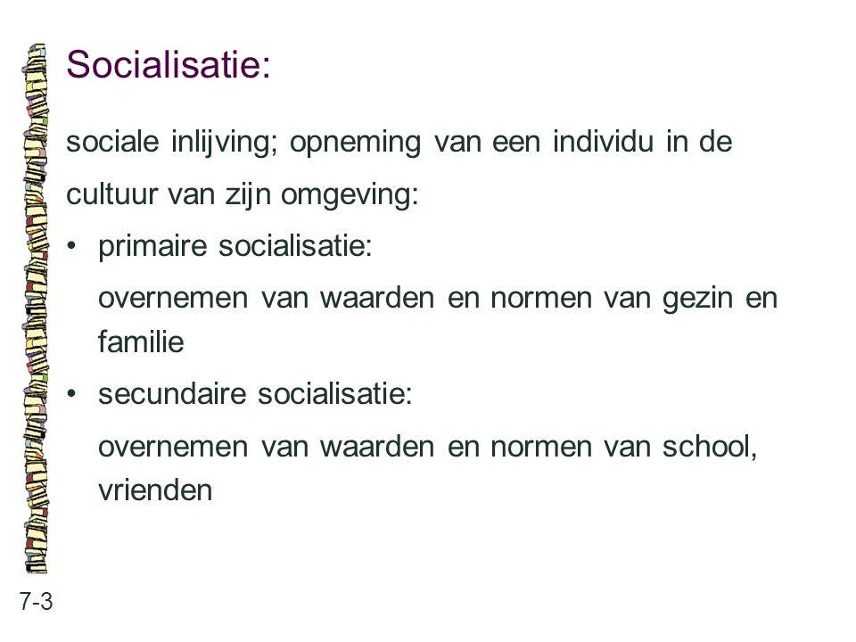 Socialisatie: sociale inlijving; opneming van een individu in de