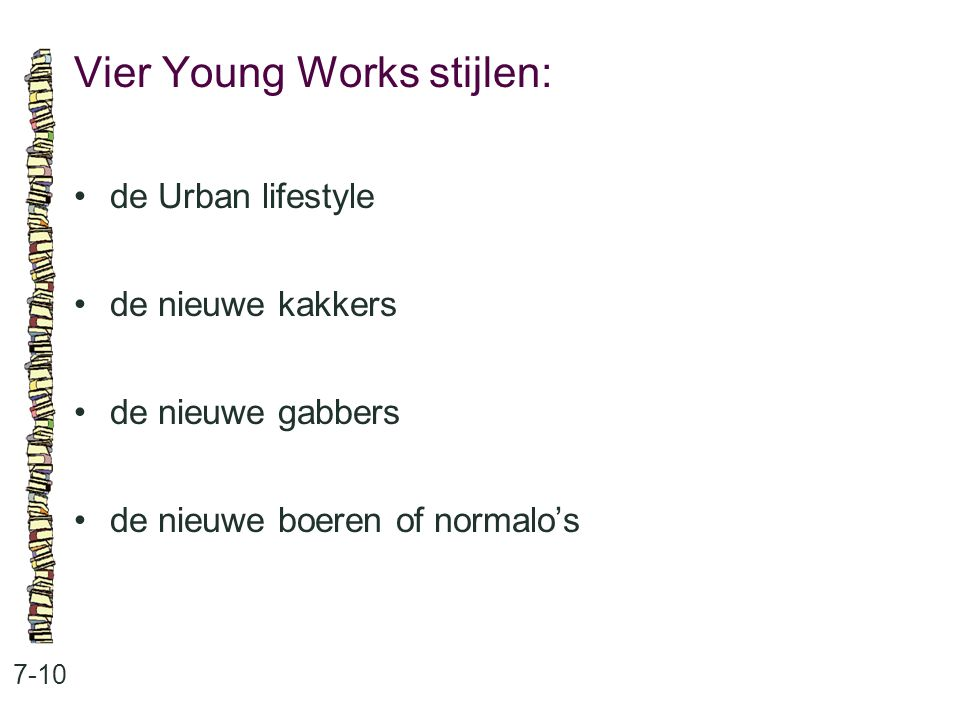Vier Young Works stijlen: