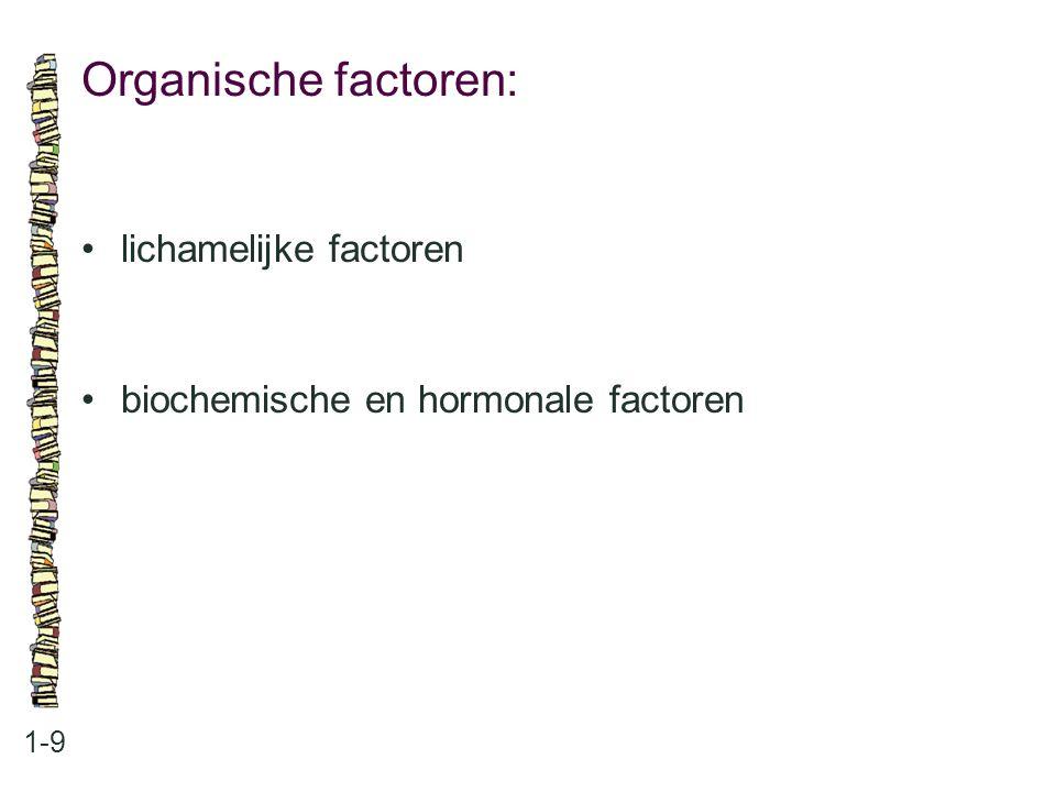 Organische factoren: • lichamelijke factoren