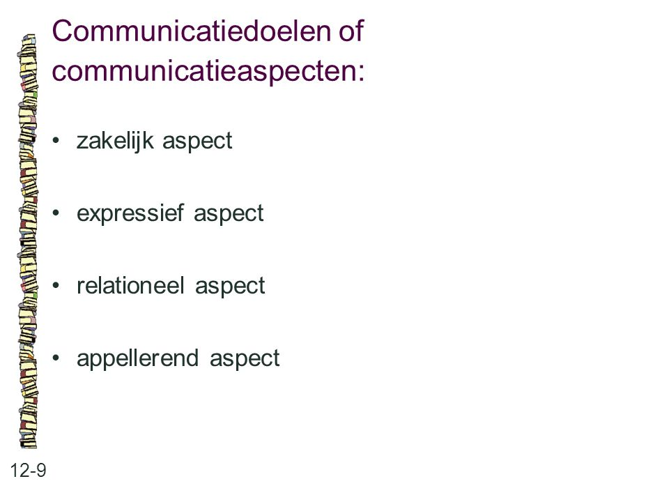 Communicatiedoelen of communicatieaspecten: