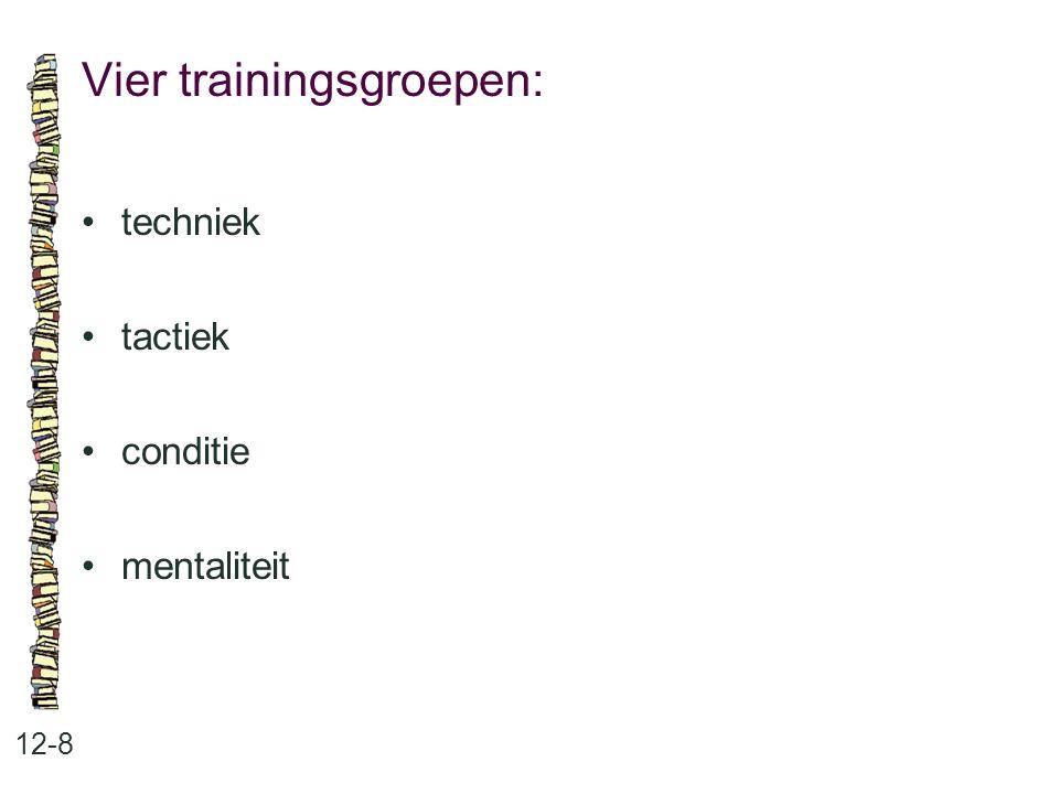 Vier trainingsgroepen: