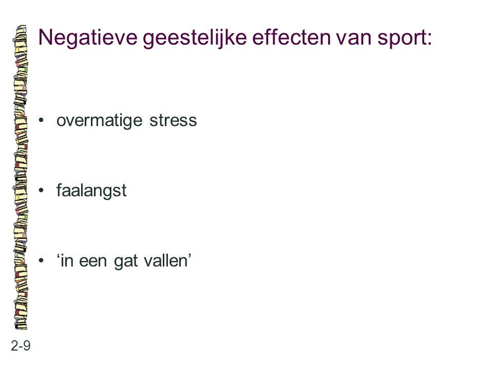 Negatieve geestelijke effecten van sport: