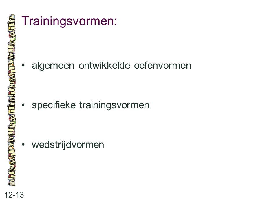 Trainingsvormen: • algemeen ontwikkelde oefenvormen