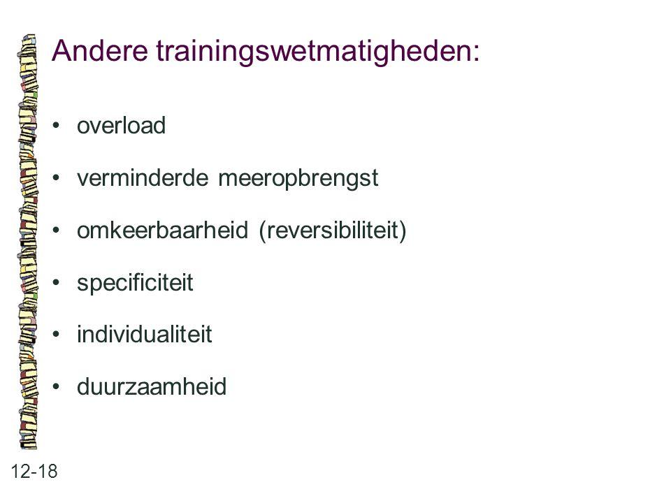 Andere trainingswetmatigheden: