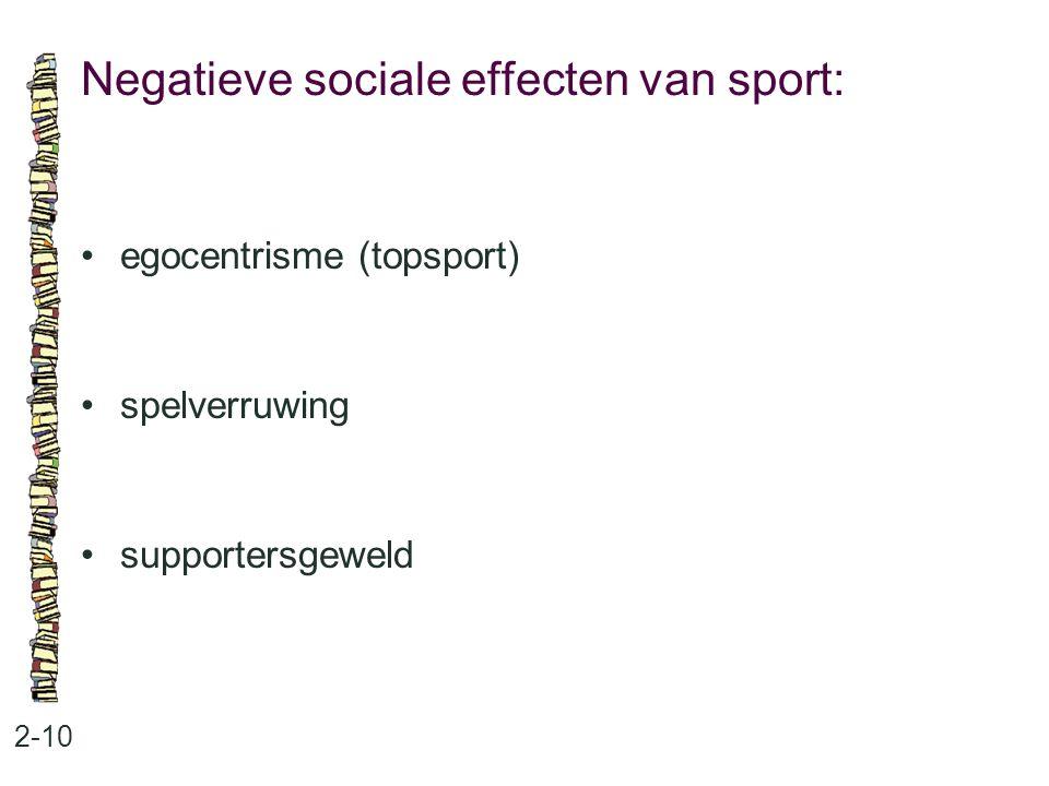 Negatieve sociale effecten van sport: