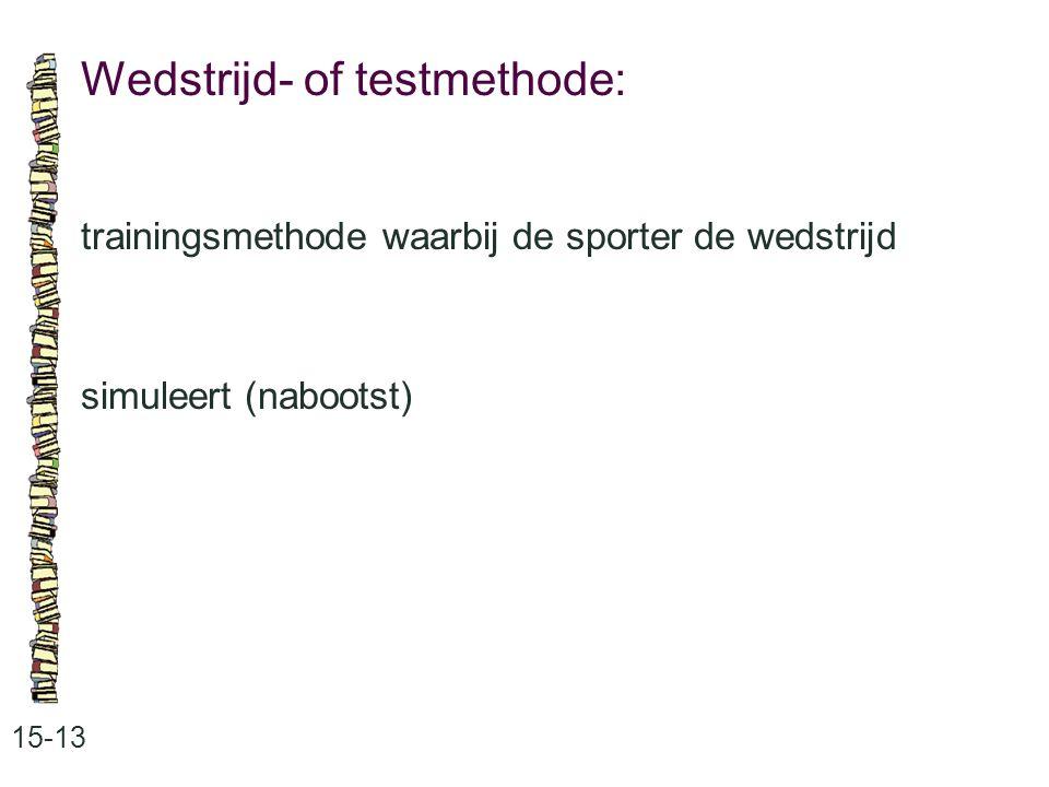 Wedstrijd- of testmethode: