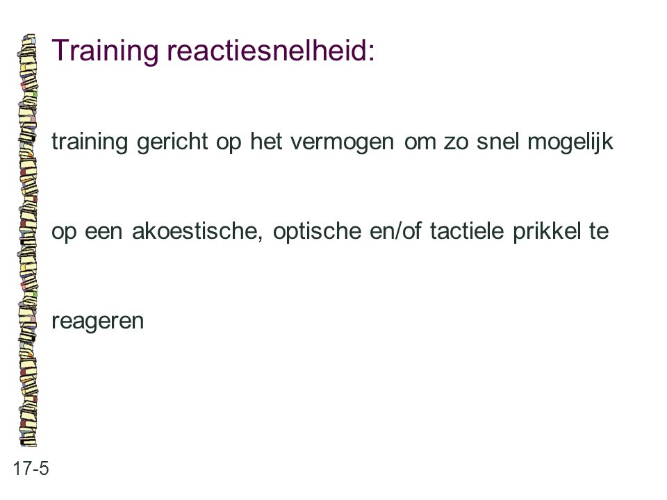 Training reactiesnelheid: