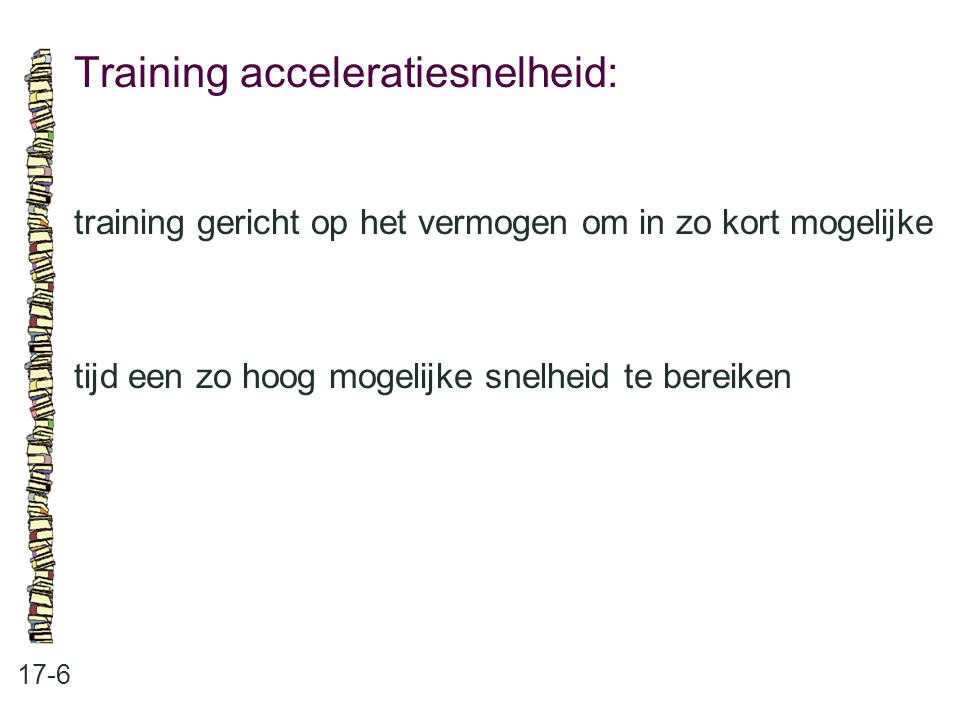 Training acceleratiesnelheid: