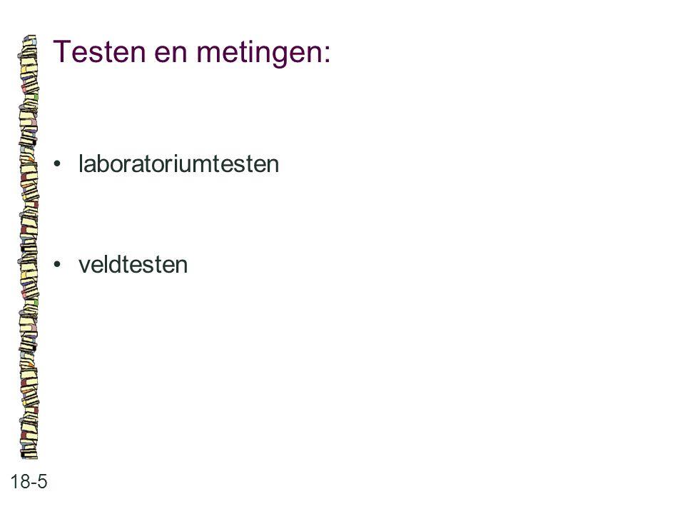 Testen en metingen: • laboratoriumtesten • veldtesten 18-5