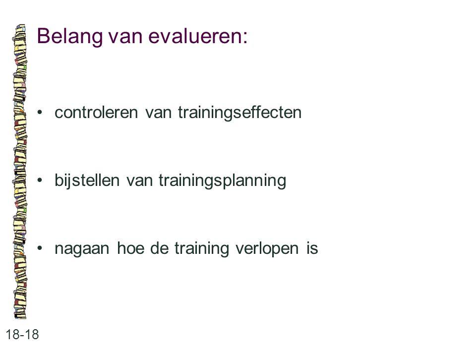 Belang van evalueren: • controleren van trainingseffecten
