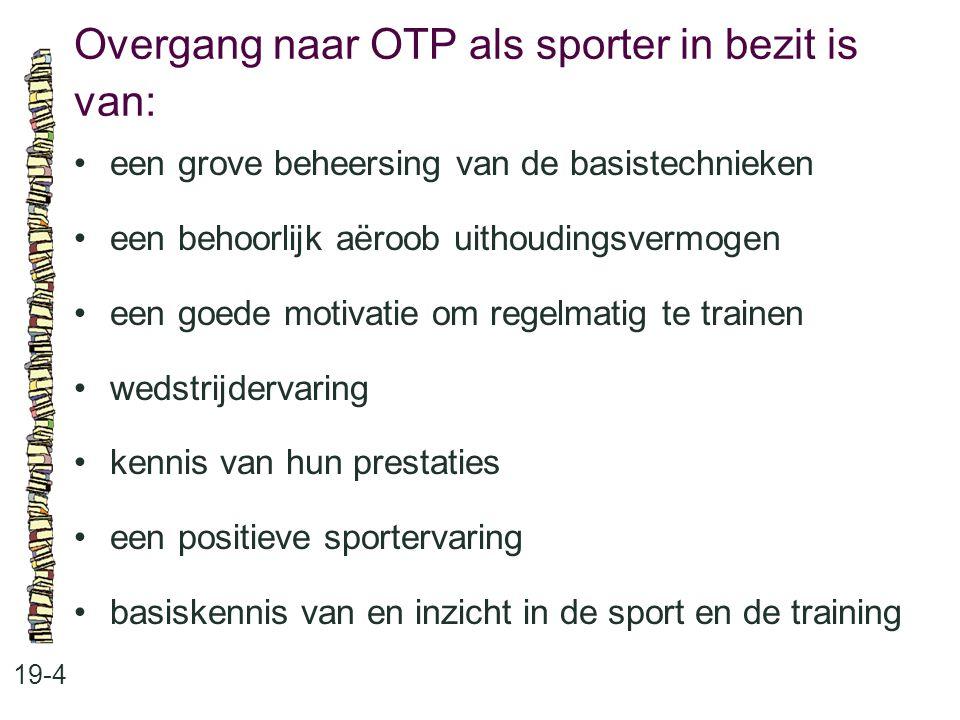 Overgang naar OTP als sporter in bezit is van: