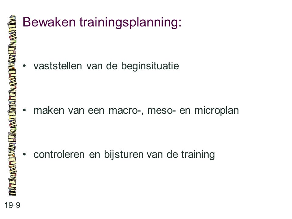 Bewaken trainingsplanning: