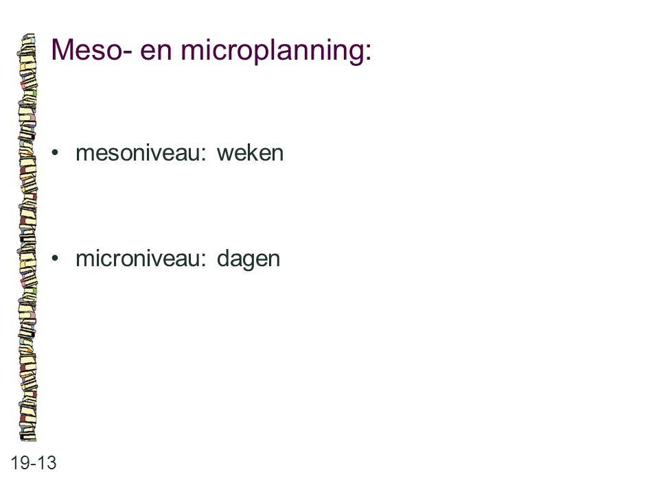 Meso- en microplanning: