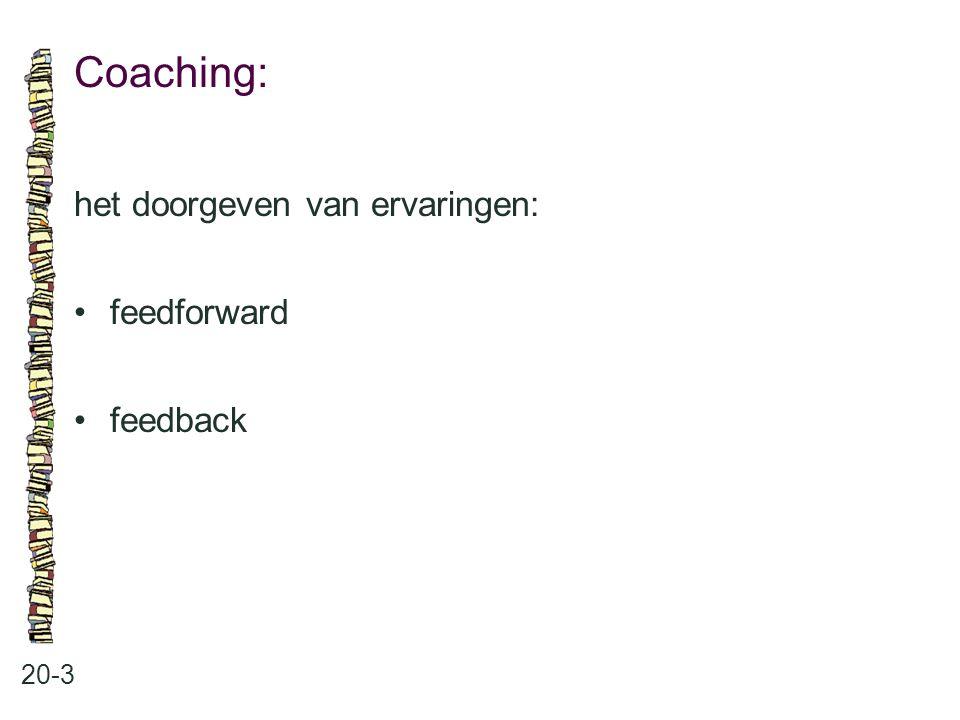 Coaching: het doorgeven van ervaringen: • feedforward • feedback 20-3