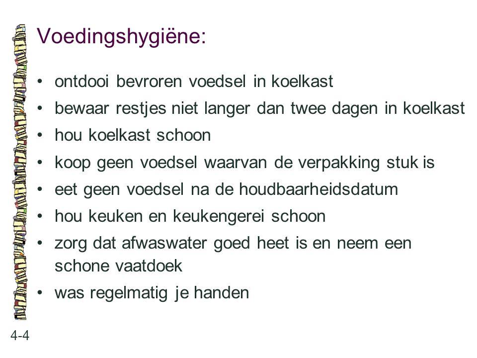 Voedingshygiëne: • ontdooi bevroren voedsel in koelkast