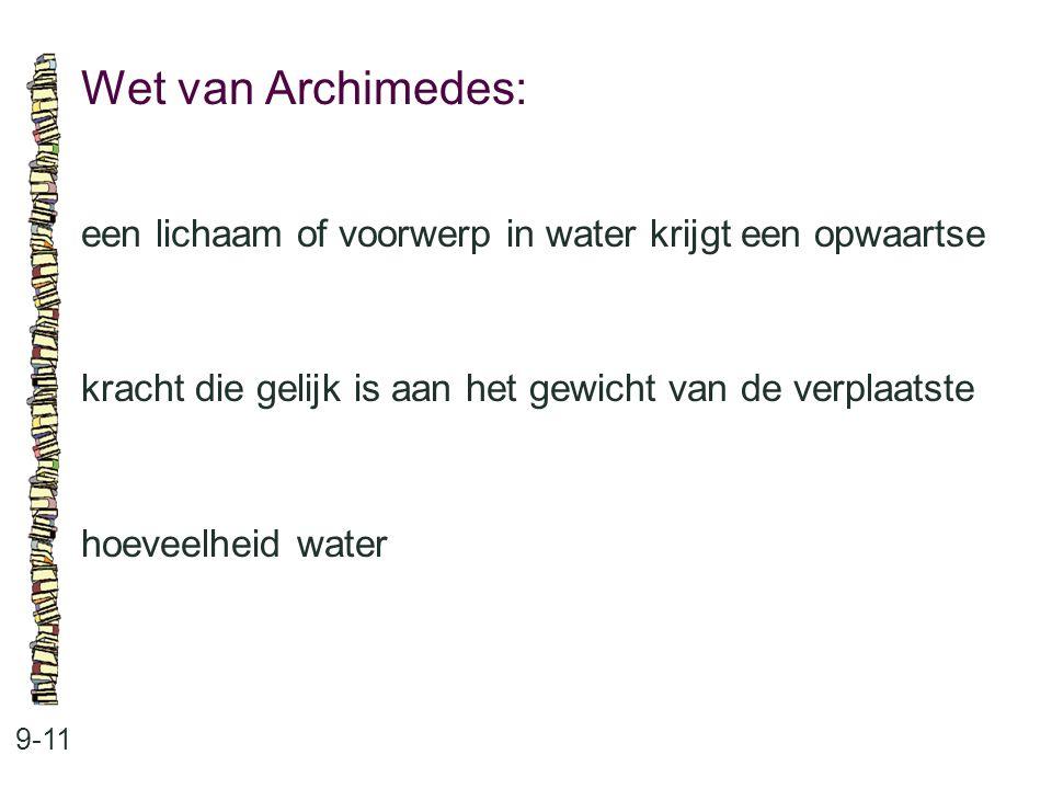Wet van Archimedes: een lichaam of voorwerp in water krijgt een opwaartse. kracht die gelijk is aan het gewicht van de verplaatste.