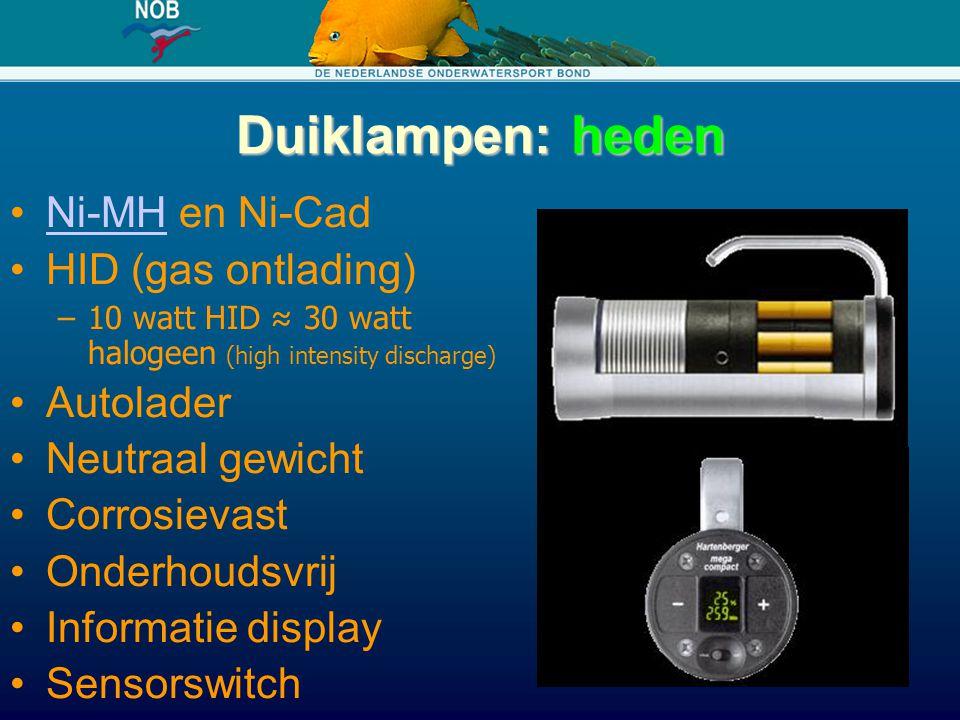 Duiklampen: heden Ni-MH en Ni-Cad HID (gas ontlading) Autolader