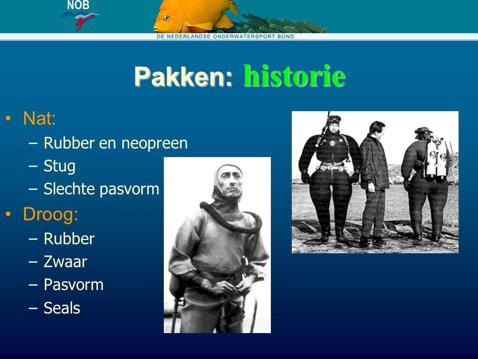 Pakken: historie Nat: Droog: Rubber en neopreen Stug Slechte pasvorm