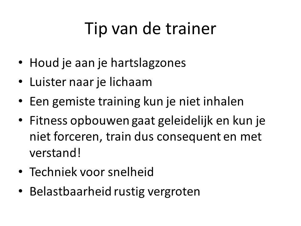Tip van de trainer Houd je aan je hartslagzones