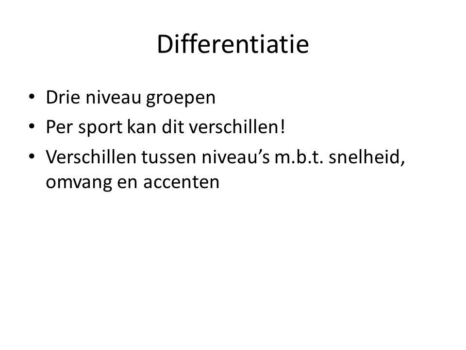 Differentiatie Drie niveau groepen Per sport kan dit verschillen!