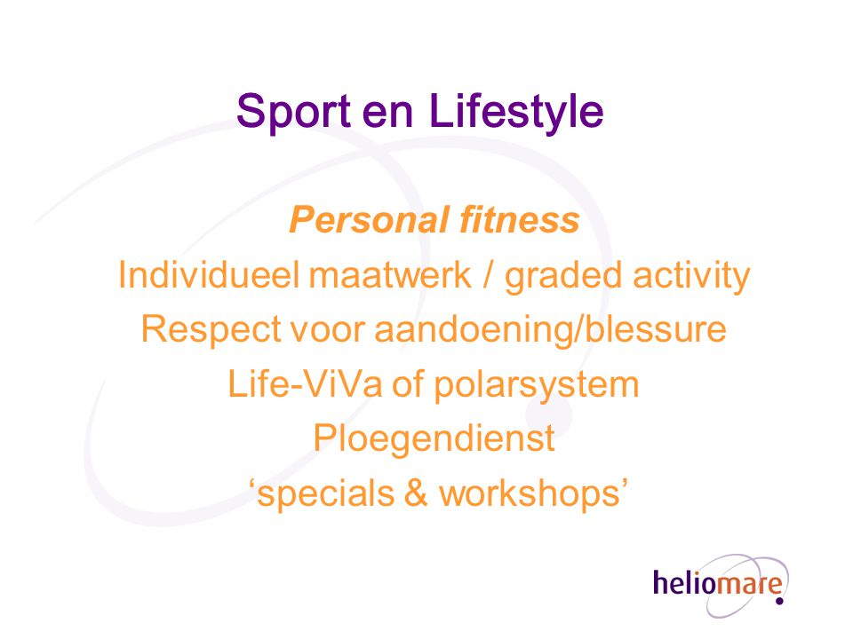 Sport en Lifestyle Personal fitness
