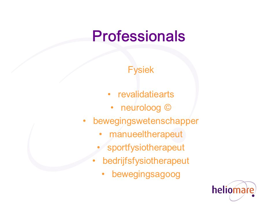 Professionals Fysiek revalidatiearts neuroloog ©