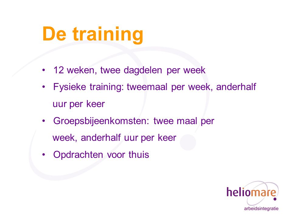 De training 12 weken, twee dagdelen per week