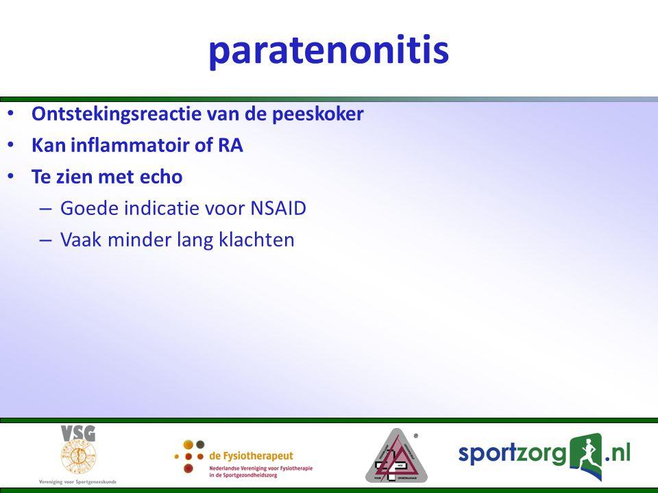 paratenonitis Ontstekingsreactie van de peeskoker