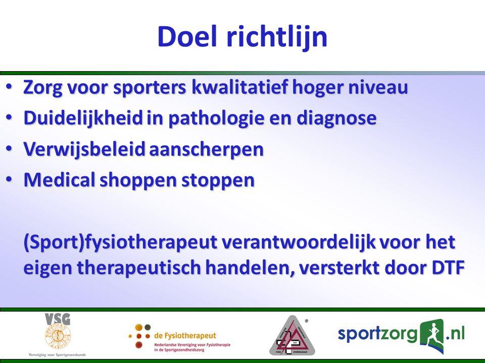 Doel richtlijn Zorg voor sporters kwalitatief hoger niveau