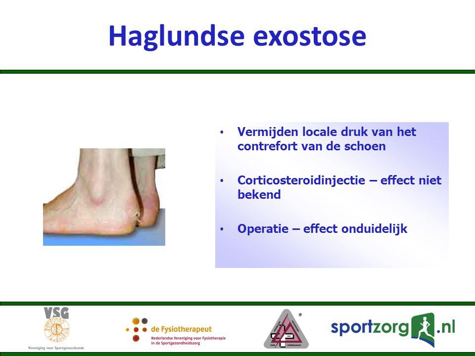 Haglundse exostose Vermijden locale druk van het contrefort van de schoen. Corticosteroidinjectie – effect niet bekend.