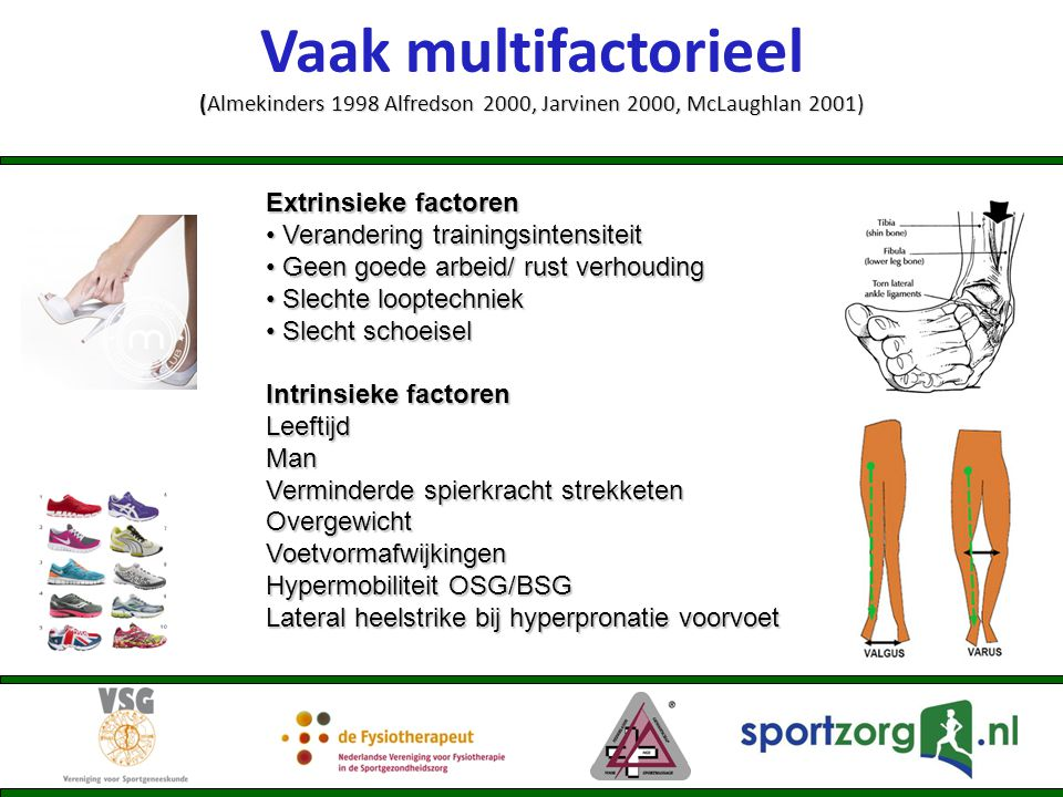 Vaak multifactorieel (Almekinders 1998 Alfredson 2000, Jarvinen 2000, McLaughlan 2001)