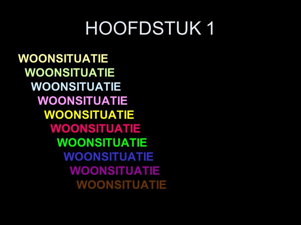 HOOFDSTUK 1 WOONSITUATIE