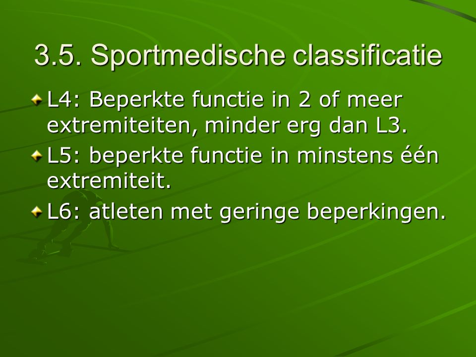 3.5. Sportmedische classificatie
