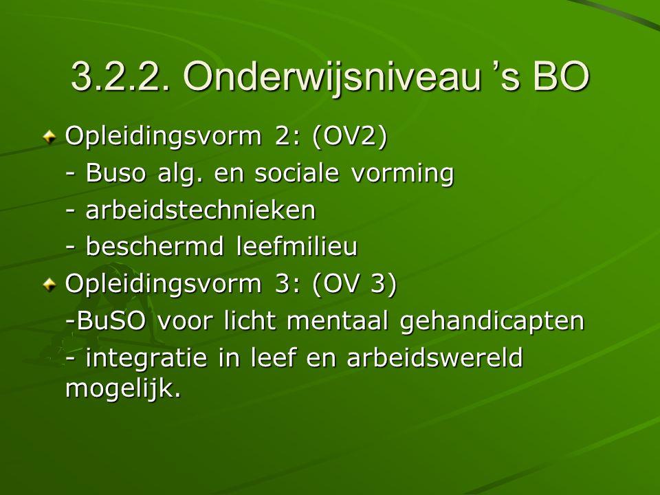 3.2.2. Onderwijsniveau 's BO Opleidingsvorm 2: (OV2)