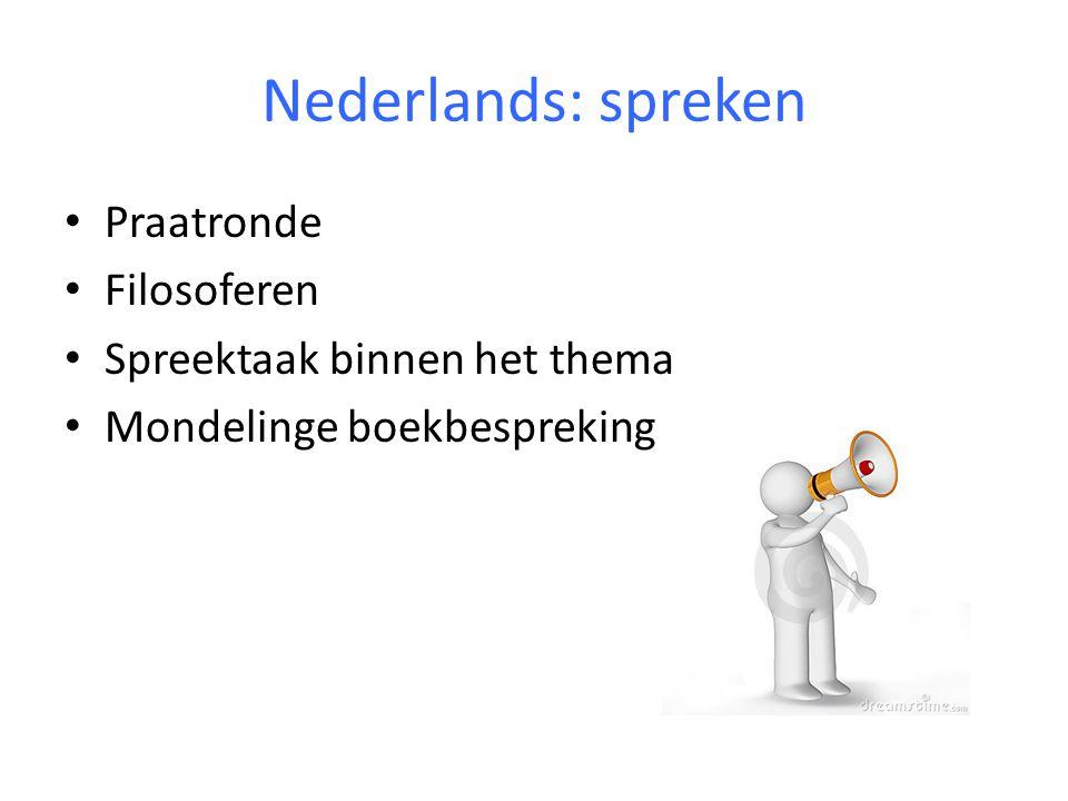 Nederlands: spreken Praatronde Filosoferen Spreektaak binnen het thema