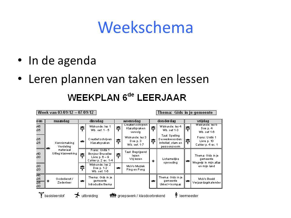 Weekschema In de agenda Leren plannen van taken en lessen