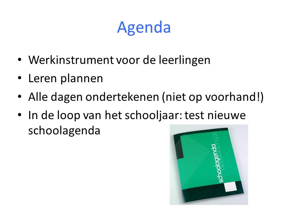 Agenda Werkinstrument voor de leerlingen Leren plannen