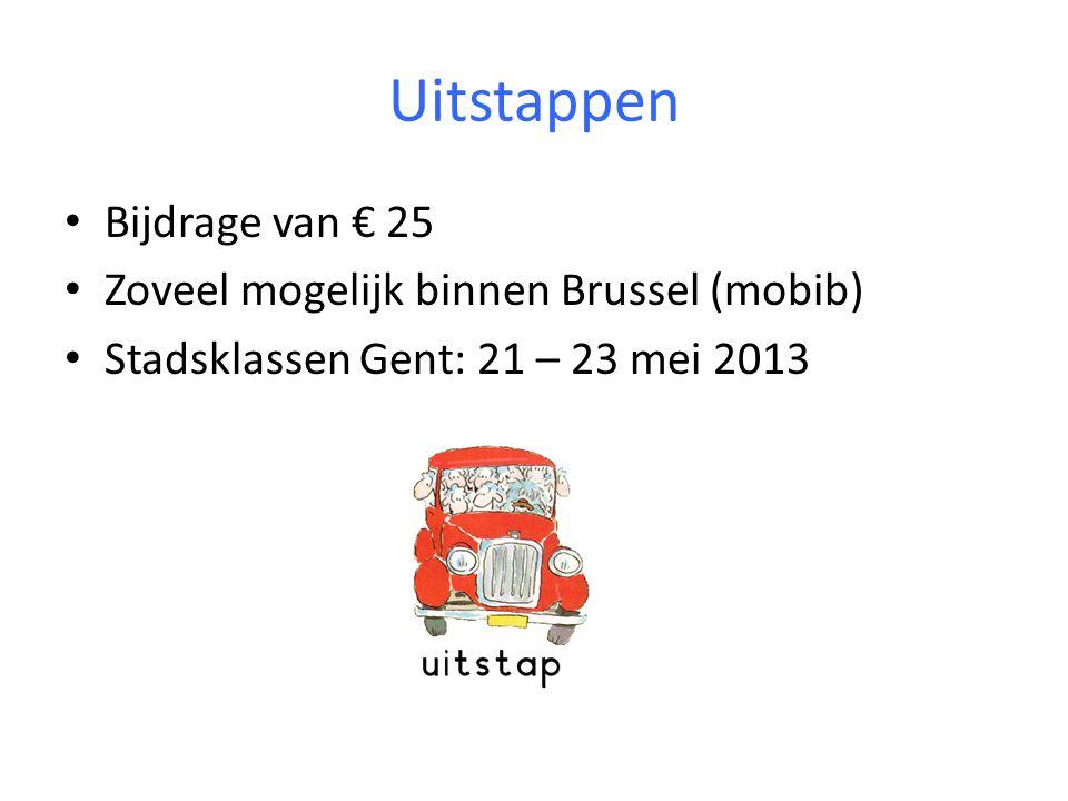 Uitstappen Bijdrage van € 25 Zoveel mogelijk binnen Brussel (mobib)