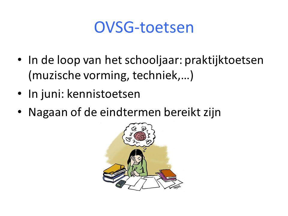 OVSG-toetsen In de loop van het schooljaar: praktijktoetsen (muzische vorming, techniek,…) In juni: kennistoetsen.