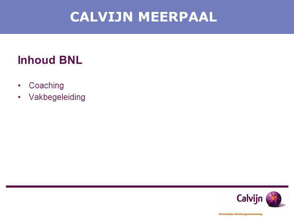 CALVIJN MEERPAAL Inhoud BNL Coaching Vakbegeleiding