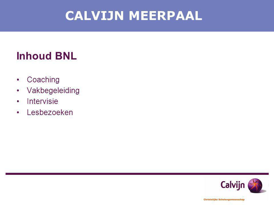 CALVIJN MEERPAAL Inhoud BNL Coaching Vakbegeleiding Intervisie