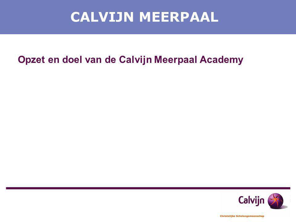 CALVIJN MEERPAAL Opzet en doel van de Calvijn Meerpaal Academy